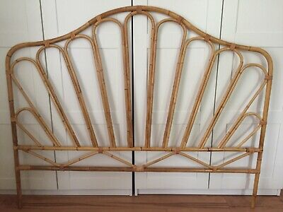 Beautiful Vintage Franco Albini Style 60s Bamboo Rattan Headboard Queen Size MCM