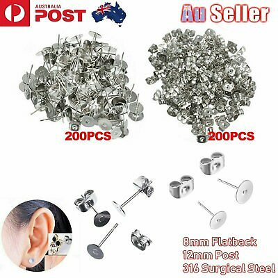 400PCS Earring Stud Posts 8mm Pads & Nut Backs Silvery Surgical Steel DIY Craft
