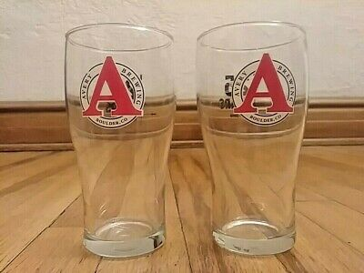 Lot of 2 Avery Brewing Co. Beer Glass Boulder Colorado 1993-2018 25 years 5 7/8""