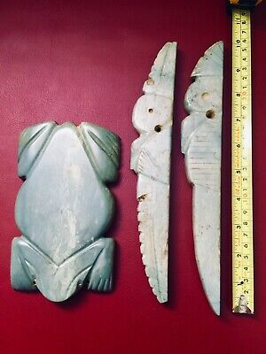 Lot Of Three Heavy Big Precolumbian Maya Green Jade Pectorals