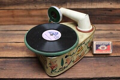 Rare Vintage BINGOLA I 1 Tin Plate Toy Gramophone Wind Up Germany Record Player