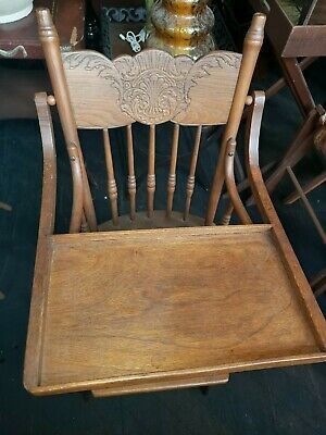 Antique High Chair Solid Wood Oak