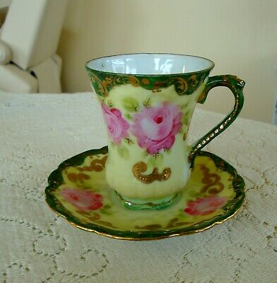 Pre~1891~Nippon~Chocolate~Cup~Saucer~Plate!~Bold~Pink~Roses~Green~Swirled~Gold~!