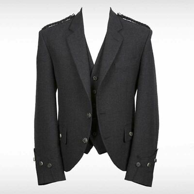 New Argyll Jacket With Waistcoat ( Black Color) 100 % WOOL