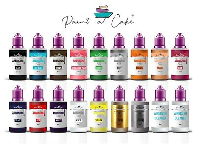 Large Set 16x50ml Airbrush Edible Food Colours for Cake Decorating 2x Cleaner UK