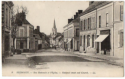 CPA 72 - ECOMMOY (Sarthe) - 8. Rue Nationale et l'Eglise - LL