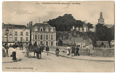 CPA 53 - CHATEAU GONTIER (Mayenne) - 1713. Les Ponts (petite animation, attelage