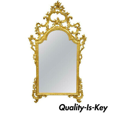Labarge Gold Carved Giltwood French Louis XV Rococo Large Console Wall Mirror