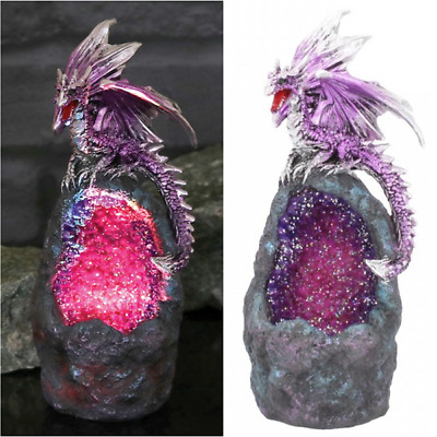 Dragon Ornament With LED Colour Changing Geode Mystic Fantasy Creature Figure