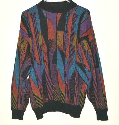 Mens Acrylic Sweater VTG 90s Large Coogi Style Multicolor Geometric Shapes