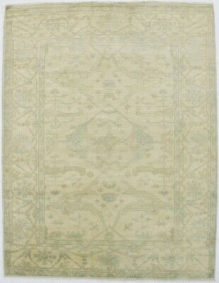 Muted Antique Style Beige 5X7 Oushak Hand Knotted Wool Area Rug Oriental Carpet