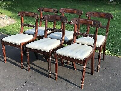Set of Six 19th Century Mahogany Hand Carved Dining Chairs Regency Style