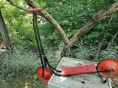 antique RED push SCOOTER vtg TOY man cave CLEAN original STRONG vivid PAINT old