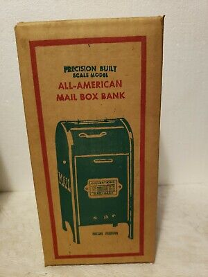 """1950's Vintage All-American 9"""" Green Metal USPS Mail Box Coin Bank UNOPENED"""