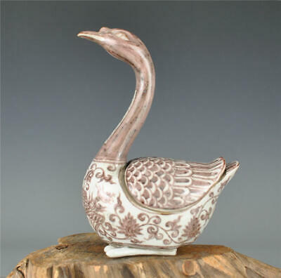 Amazing Chinese Ancient Underglaze Red Porcelain Swan Statue Shaped Jar Vessel
