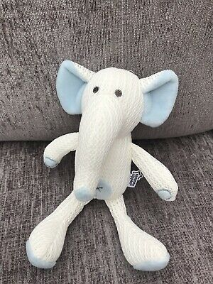 Tommy Tippee Knitted Elephant Soft Comforter Toy Blue creamy white cross 10""