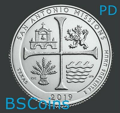 2019 P&D ATB Qtrs San Antonio Missions Park, TX - BU TWO Coins - Ship TODAY!!