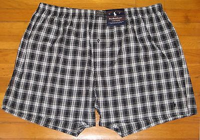 New Mens Polo Ralph Lauren Classic Fit  Cotton Boxers Black/White Plaid-S 28-30