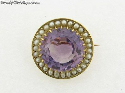 Beautiful Antique Art Deco 18k Large 15 Carat Amethyst and Pearls Brooch