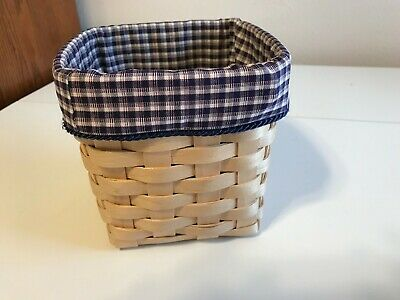 Tall Tissue Basket Liner From Longaberger J.W. Mini Check Collector Club Fabric