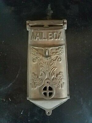 Vintage Victorian Style Mail Letter Box Mailbox Solid Cast Brass Heavy Ornate