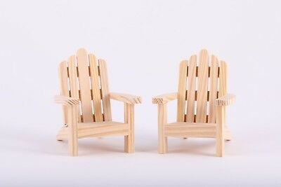1:12 Scale 2 Dollhouse Wood Adirondack Chairs Outdoor Cottage Miniature Chair