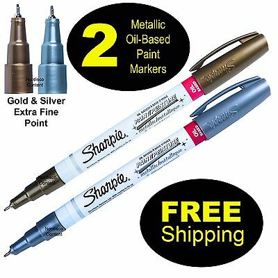 Metallic Gold & Silver Sharpie Oil Based Paint Markers, Extra Fine, 35532 35533