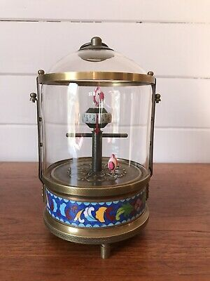 Stunning Rare Vintage Brass and Glass Mechanical Caged Clock Cloisonne Fish