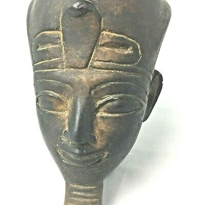 Vintage Hand Carved Iron Wood Pharaoh Head Egyptian King Tut Tutankhamen Rare