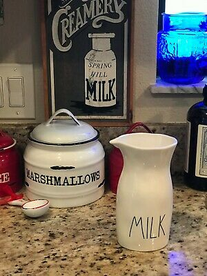 Rae Dunn Magenta Tall Milk Pitcher Server Traditional Lettering LL New!