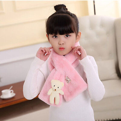Children Cute Winter Scarf Faux Fur Rabbit Hair Neck Warmer Pure Color Scarf MA