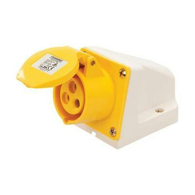 110V 3 Pin 16A Yellow Wall Socket 16 Amp Single Phase Industrial / Site  IP44