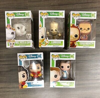FUNKO POP DISNEY BEAUTY & THE BEAST POTS COGSWORTH LUMIERE BELLE NIB Mint