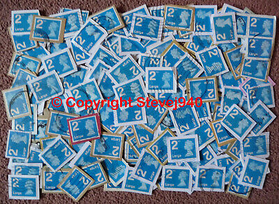 500x GB 2nd Class Large Letter Blue Machin's NVI Used Security Stamps Trimmed