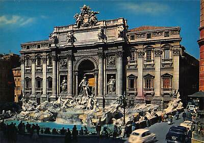 Italy Roma The Fountain of Trevi Statues Vintage Cars Postcard