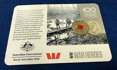 2015 100 years of ANZAC $1 red poppy coin WW1 War heroes - RARE