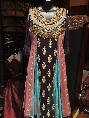 Hand Made Vintage Rhinestones Embroidered Purple Pink Blue Chiffon Indian Dress