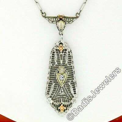 Antique Art Deco 14k Gold Old Diamond Milgrain Filigree Floral Pendant Necklace