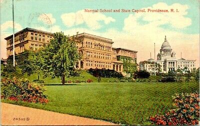 Postcard Providence Rhode Island c.1907 - 1915 Normal School And State Capitol