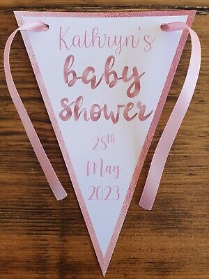 Personalised Baby Shower Party Banner Bunting Decoration Pink & Rose Gold Girl