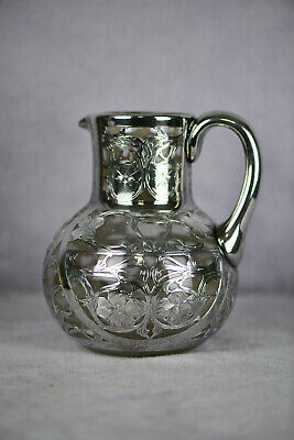 """Art Nouveau Silver Overlay Water Pitcher 6 1/2"""" Tall Black Starr & Frost (AS1582"""