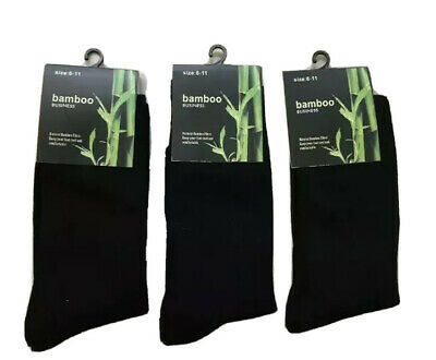 X6 Pairs 90%BAMBOO SOCKS Men's Ladies Unisex Work BLACK Bulk Sz 6-11 Soft NEW