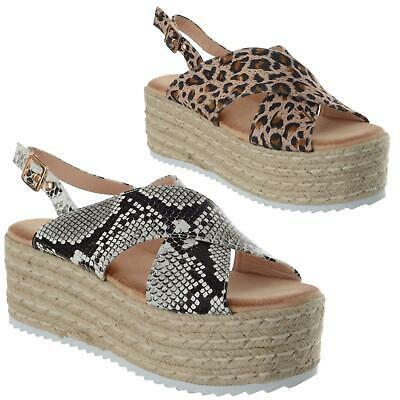 Ladies Womens Crossover Strappy Flatform Espadrille Wedge Sandals Shoes Size