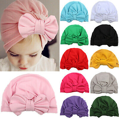 Headwrap Solid Color Kids Baby Turban Bow Knot Newborn Beanie Hat Hairband Cap