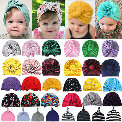 Baby Girl Turban Infant Toddler Hat Twist Knot Indian Cap Beanie Cotton Headwrap