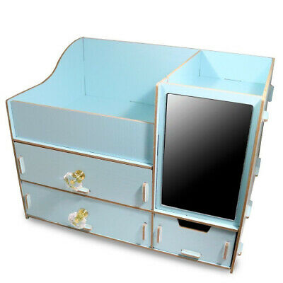 (Sky Blue) - Fashion DIY Wooden Makeup Storage Display Box 3 Drawers Jewellery