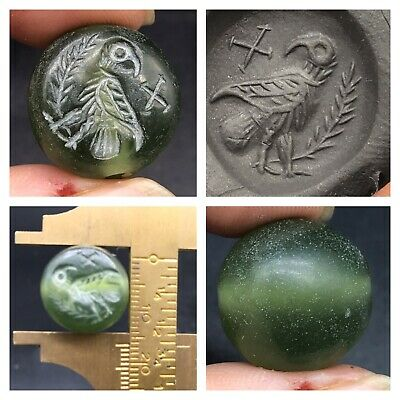 Beautifull Green Nephrite Stone A Bird Lago Intaglio Stamp Bead