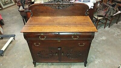 Antique Oak Side Board Dining Server - 1800's Made Carved - Beautiful