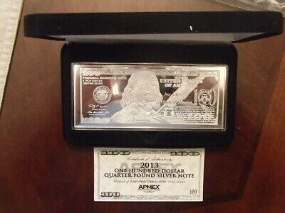 4 Troy Ounces .999 Silver Bar- 2013 One Hundred Dollar Quarter Pound Silver Note