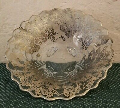 Vtg Cut Glass Dish Bowl With Sterling Silver Floral Overlay Decoration Crystal